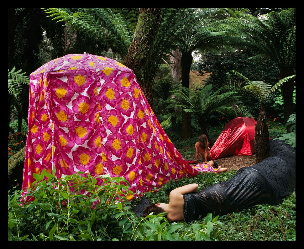 """Three Dress Tents Camping in a Faux Hawaiian Rainforest,"" installed at Golden Gate Park in San Francisco, California, 2"