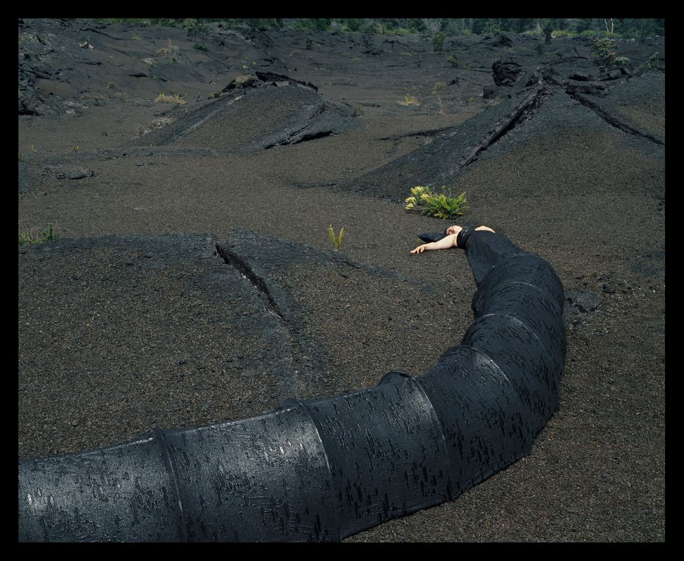 """Lava Tube Top Dress Tent,"" Installed by the Kilauea Crater in Hawaii, 2004."