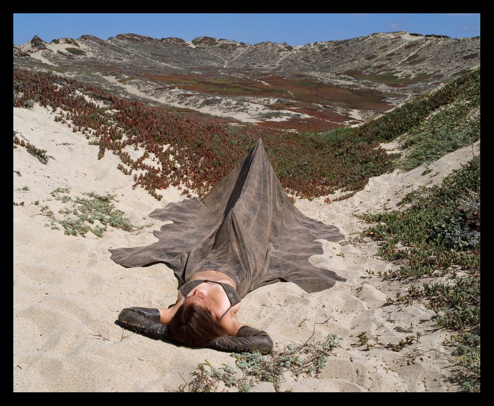 """Tanning Ones Hide Dress Tent,"" Installed in Monterey Sand Dunes near Monterey, California, 2005."