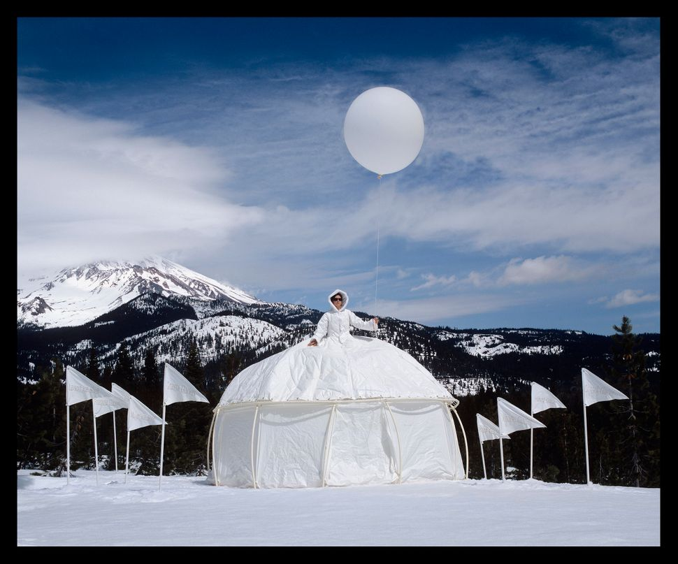 """Ice Queen Glacial Retreat Dress Tent,"" Installed at Mount Shasta, California."