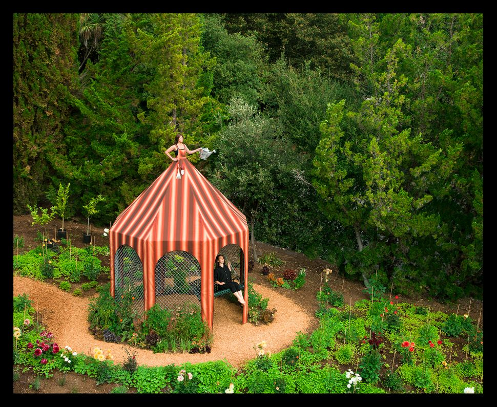 """Edible Garden Dress Tent Gazebo with Edible Garden,"" Installed at the Montalvo Arts Center in Saratoga, California, 2011."