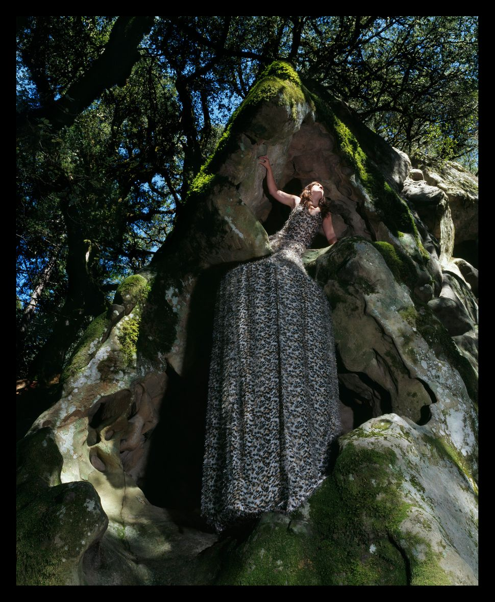 """Cave Dress Tent,"" Installed at Castle Rock State Park near Santa Cruz, California, 2005."