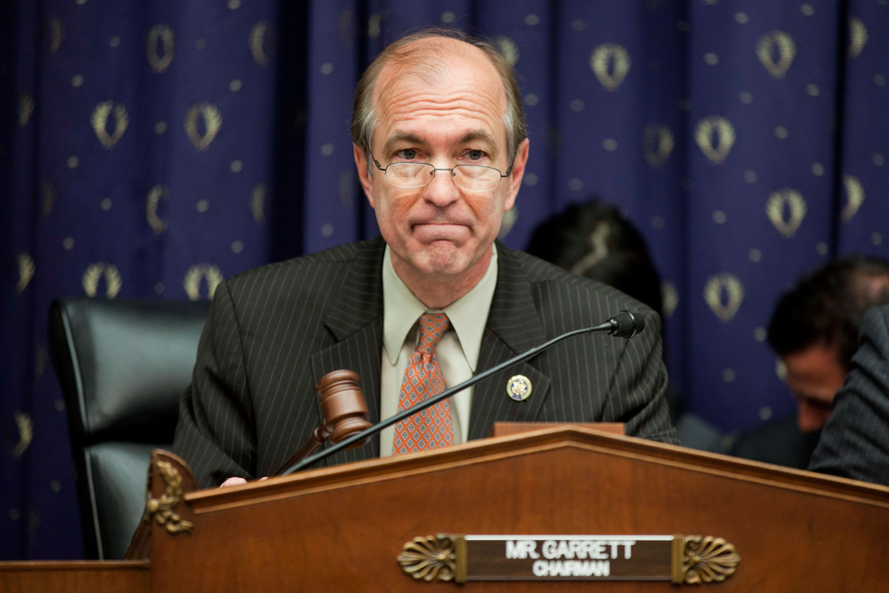 Representative Scott Garrett, a Republican from New Jersey, waits to start a House Financial Services Committee hearing in Washington, D.C., U.S., on Wednesday, April 25, 2012. Securities and Exchange Commission Chairman Mary Schapiro is pressing lawmakers for a $245 million increase in the agency's fiscal 2013 funding. Her request for a $1.57 billion fiscal 2013 appropriation would allow the SEC to hire additional examiners. Photographer: Andrew Harrer/Bloomberg via Getty Images