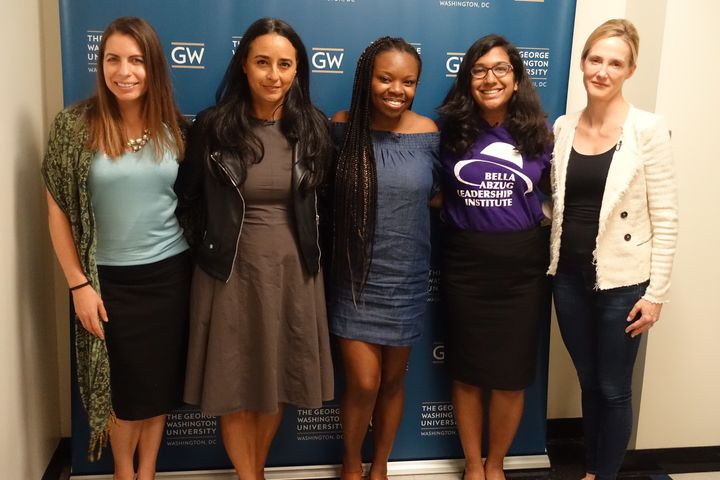 Panelists Holly Kearl (Stop Street Harassment), Soraya Chemaly, (Journalist), Precious Fasekin (GGM), Bharvi Chavre(BAL