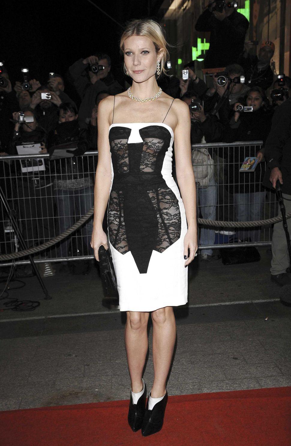 A trompe loeil corset dress designed by Antonio Berardi and worn by Gwyneth Paltrow, 2009.