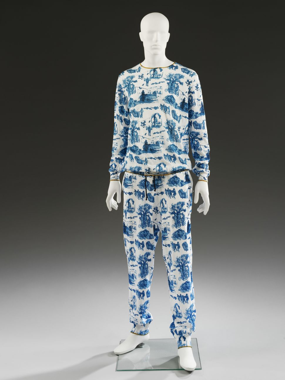 A man's top and pants designed by Sibling, 2013.