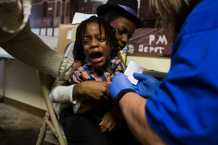 Keeghan Nelson, 4, of Flint, Michigan, gets his blood lead levels tested at Carriage Town Ministries in February. Legislation passed by the Senate could help Flint rebuild its water system, but it faces a long road before it could become law.