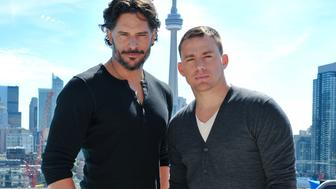 TORONTO, ON - JUNE 14:  Actor Joe Manganiello and Actor Channing Tatum pose for a portrait at the press junket for their new film 'Magic Mike' at the Thompson Hotel on June 14, 2012 in Toronto, Canada.  (Photo by George Pimentel/WireImage)