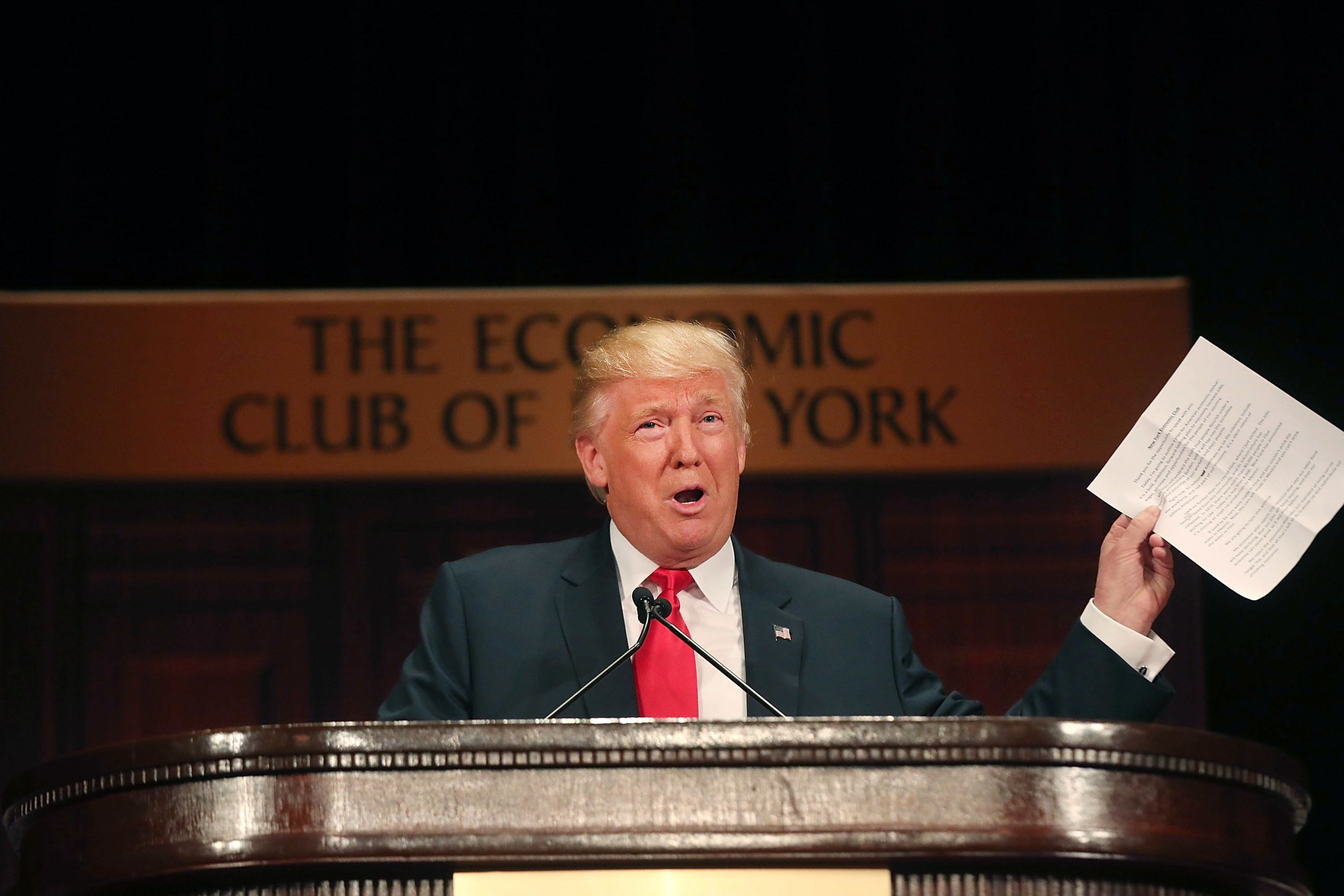 NEW YORK, NY - SEPTEMBER 15:  Republican presidential candidate Donald Trump speaks at a lunch hosted by the Economic Club of New York on September 15, 2016 in New York City. According to a report by Oxford Economics, if Trump is elected to the White House growth in the US would be about 5 per cent lower than would otherwise be expected by 2021.  (Photo by Spencer Platt/Getty Images,)