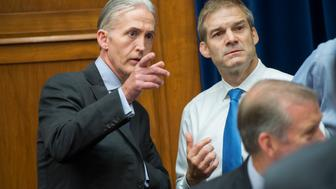 UNITED STATES - JULY 7: Reps. Trey Gowdy, R-S.C., left, and Jim Jordan, R-Ohio, talk before a House Oversight and Government Reform Committee hearing in Rayburn Building featuring testimony by FBI Director James Comey on the investigation of a private email server used by Hillary Clinton when she was Secretary of State, July 7, 2015. (Photo By Tom Williams/CQ Roll Call)