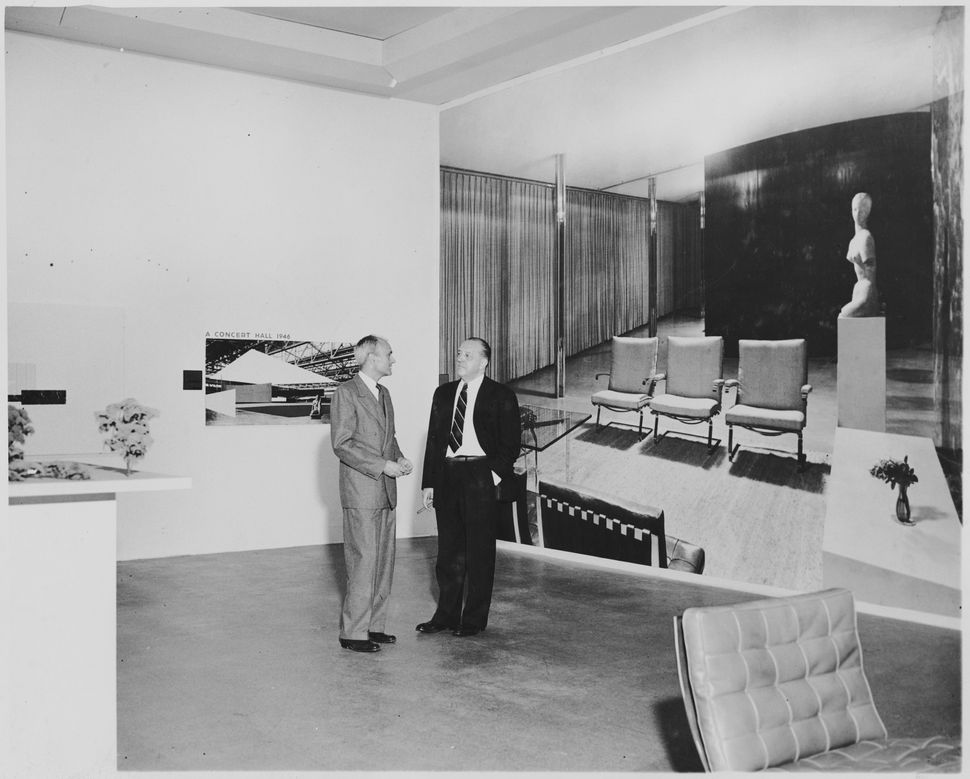 Mies van der Rohe and Phillip Johnson at the exhibition<i>Mies van der Rohe</i>, on view September 16, 1947 through Jan