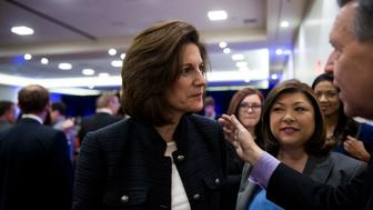 UNITED STATES - FEBRUARY 18: Democratic candidate Catherine Cortez Masto, running for Minority Leader Harry Reid's U.S. Senate seat in 2016, speaks with democrats during the Clark County Democratic Party Kick Off to Caucus Dinner at the Tropicana in Las Vegas, Nevada on Thursday, Feb. 18, 2016, two days before the Nevada Democrats' presidential caucus. (Photo By Bill Clark/CQ Roll Call)