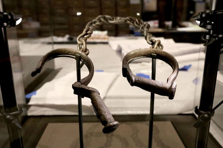 A pair of slave shackles on display in the museum.