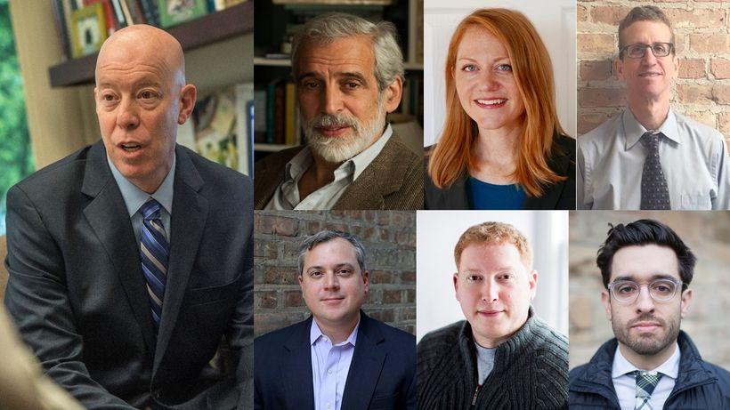 IN PHOTO: Craig Futterman, (top left to right) Jamie Kalven, Samantha Liskow, Jon Loevy, (bottom left to right) Matt Topic, B