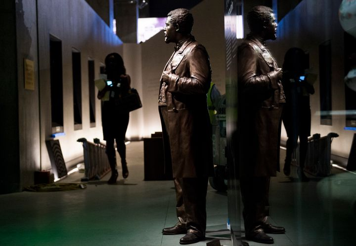 A statue of U.S. Rep.Robert Smalls (R-S.C.) stands in the National Museum of African American History and Culture.