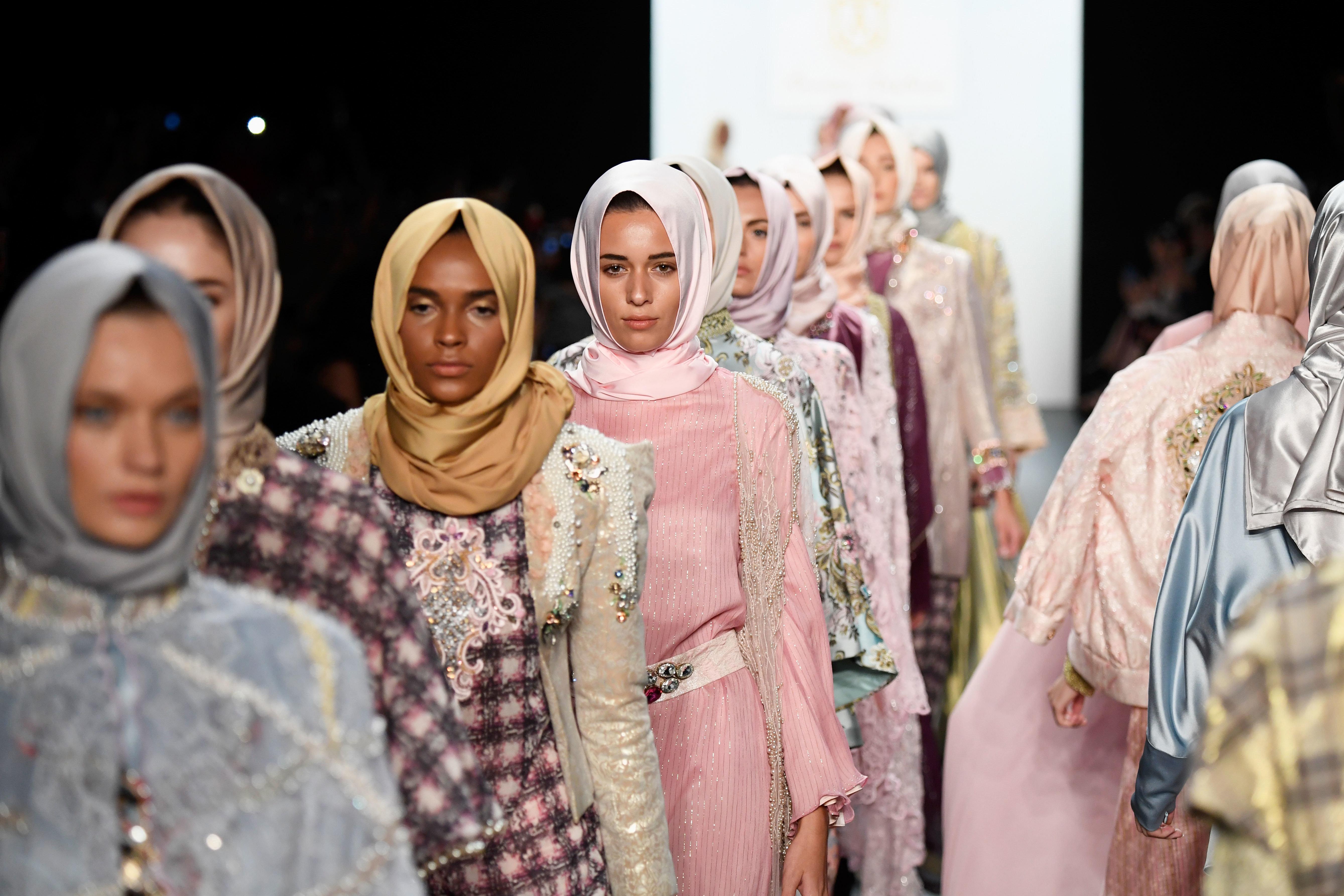 Model walk the runway at the Anniesa Hasibuan during New York Fashion Week: The Shows at The Dock, Skylight at Moynihan Stati
