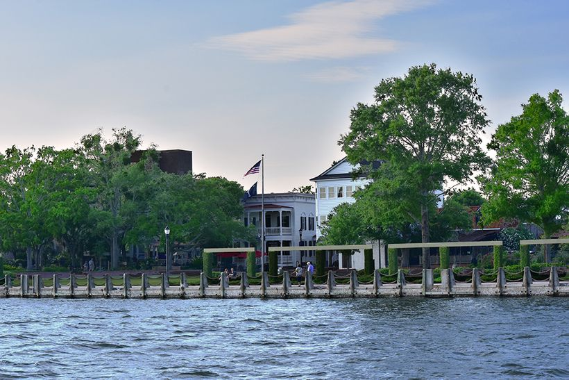 Beaufort, S.C. waterfront as viewed from the waters of Port Royal Sound.