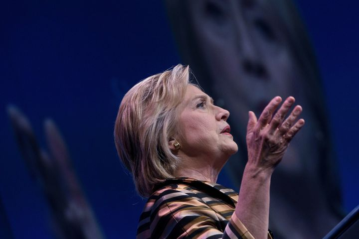 Democratic presidential nominee Hillary Clinton speaks during the Congressional Hispanic Caucus Gala.