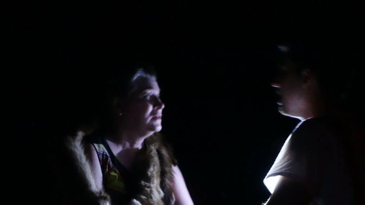The Duchess (Judi Polson) cautions Chris, the Dragonslayer (Steffen Whorton).