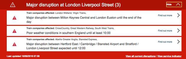 Delays into Liverpool