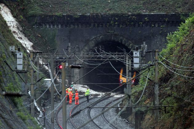 Workers at the landslip near Watford Junction