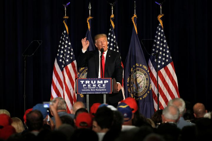 Republican presidential nominee Donald Trump speaks at a campaign rally in Laconia, New Hampshire, U.S., September 15, 2016