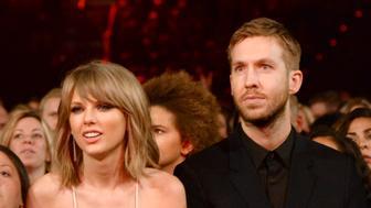 LAS VEGAS, NV - MAY 17:  Singer Taylor Swift (L) and DJ Calvin Harris attend the 2015 Billboard Music Awards at MGM Grand Garden Arena on May 17, 2015 in Las Vegas, Nevada. (Photo by Jeff Kravitz/BMA2015/FilmMagic)