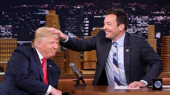 THE TONIGHT SHOW STARRING JIMMY FALLON -- Episode 0534 -- Pictured: (l-r) Republican Presidential Candidate Donald Trump during an interview with host Jimmy Fallon on September 15, 2016 -- (Photo by: Andrew Lipovsky/NBC/NBCU Photo Bank via Getty Images)