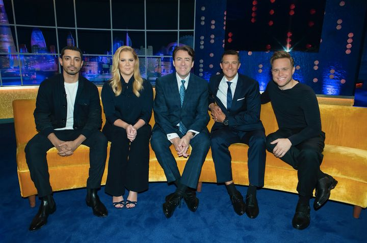 Amy Schumer with Bear Grylls, Olly Murs, Riz Ahmed and host Jonathan Ross.