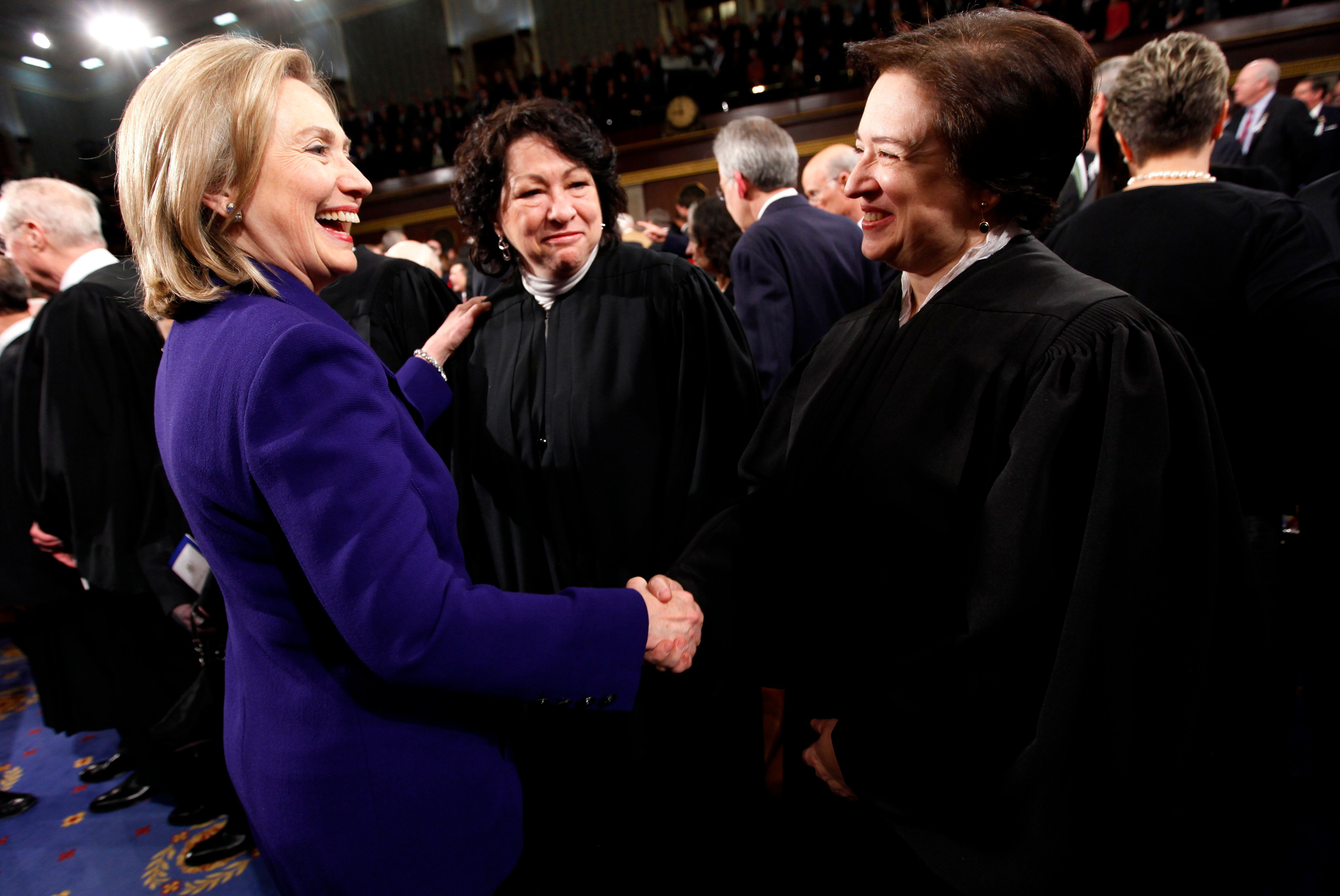Elena Kagan, here shaking hands with Hillary Clinton at the State of the Union address in 2011, has a few thoughts on how the