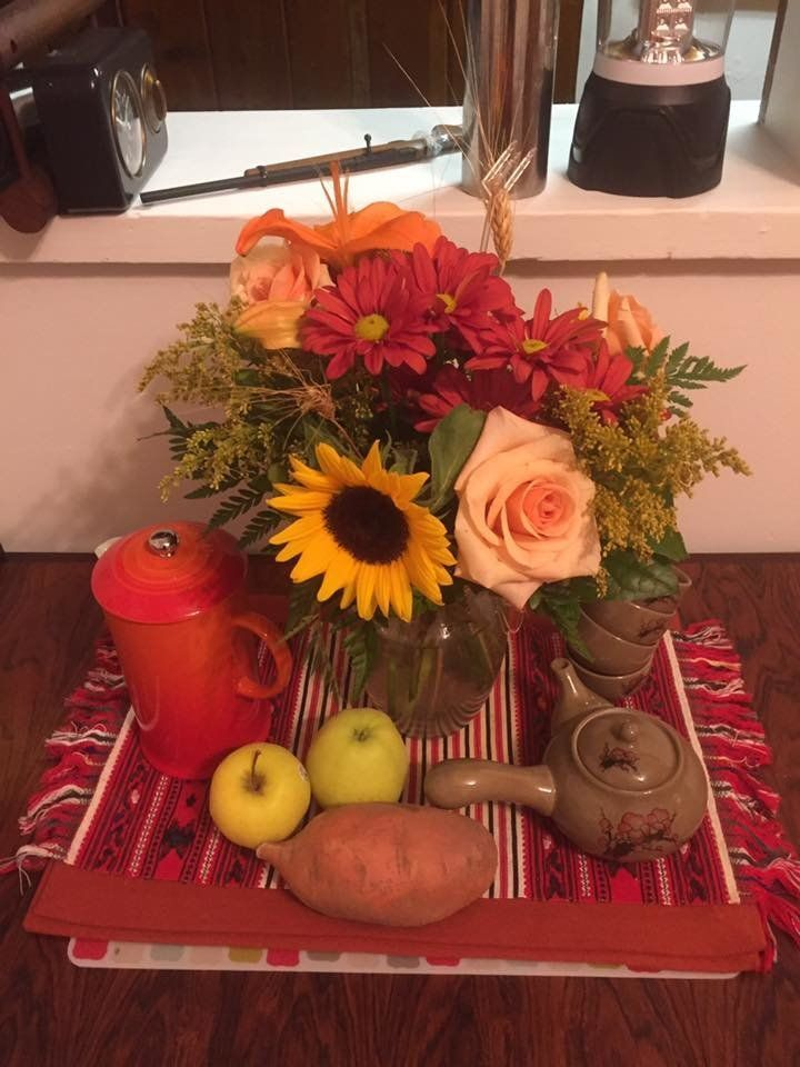 The beautiful arrangement Grady received from Tonya, aka the angel of Capital One customer service.