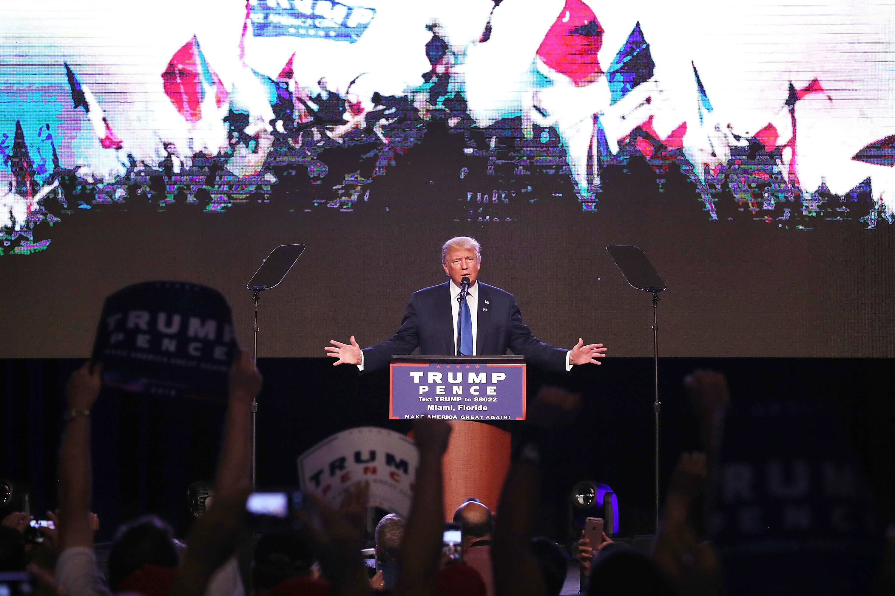 Donald Trump spoke at a rally in Miami on Friday.
