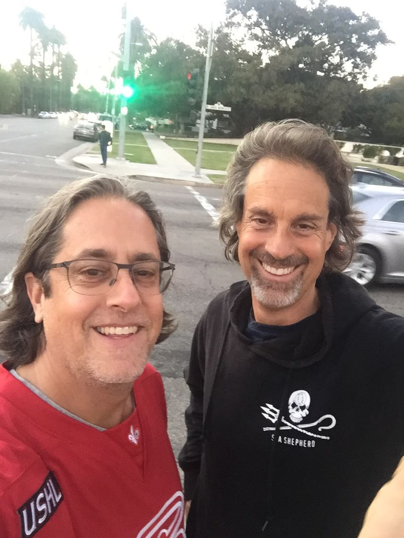 The Earth Doctor and Jason Halter strategizing on their upcoming books. Beverly Hills, Calif.