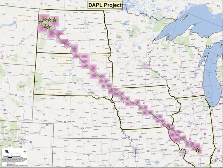 The Dakota Access Pipeline would stretch 1172 miles, from North Dakota oil fields to an existing Illinois pipeline.