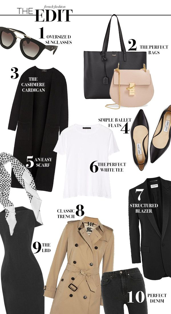 4bbaa51c6c37 The cashmere cardigan | 4. Simple ballet flats | 5. An easy scarf | 6. The  perfect white tee | 7. Structured blazer | 8. Classic trench | 9. The LBD  |10.