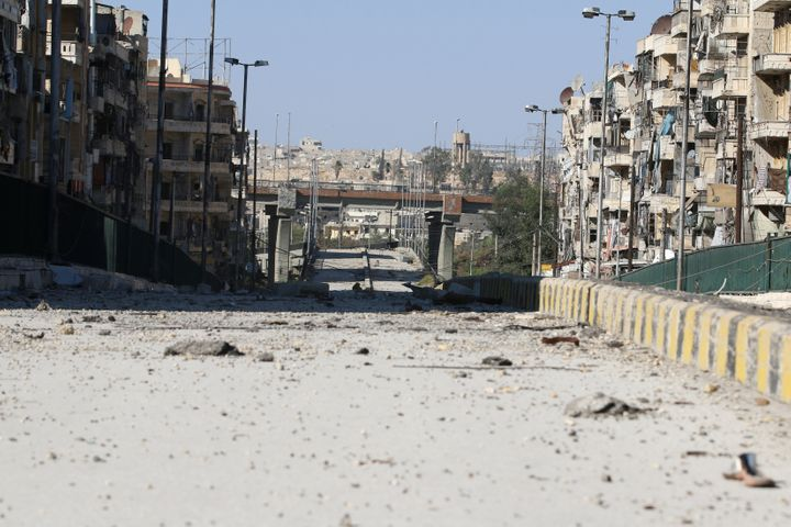 A damaged highway is pictured in the rebel-held al-Shaar neighbourhood of Aleppo, Syria, September 17, 2016. Picture taken Se