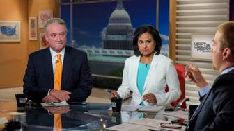 MEET THE PRESS -- Pictured: (l-r)  Alex Castellanos, Republican Strategist, Kristen Welker, White House Correspondent for NBC News, and moderator Chuck Todd appear on 'Meet the Press' in Washington, D.C., Sunday September 4, 2016.  (Photo by: William B. Plowman/NBC/NBC NewsWire via Getty Images)