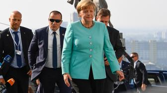 Germany's Chancellor Angela Merkel arrives for the informal EU summit at the Bratislava Castle in the Slovak capital on September 16, 2016. The 27 EU leaders hold a special summit without Britain to chart the bloc's future after Brexit, focusing on defence, security and migration.   / AFP / JOE KLAMAR        (Photo credit should read JOE KLAMAR/AFP/Getty Images)