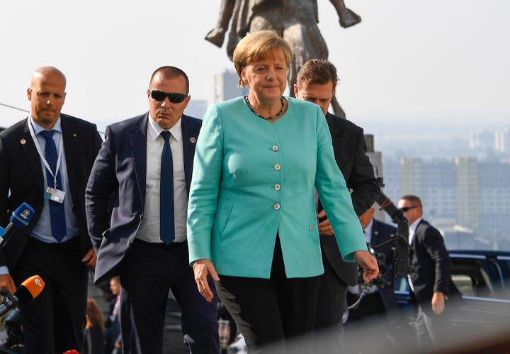 Germany's Chancellor Angela Merkel arrives for the informal EU summit at the Bratislava Castle in the Slovak capital on Septe