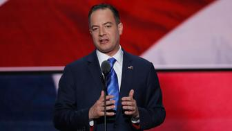 Republican National Committee Chairman Reince Priebus takes the stage at the Republican National Convention in Cleveland, Ohio, U.S. July 21, 2016. REUTERS/Mike Segar