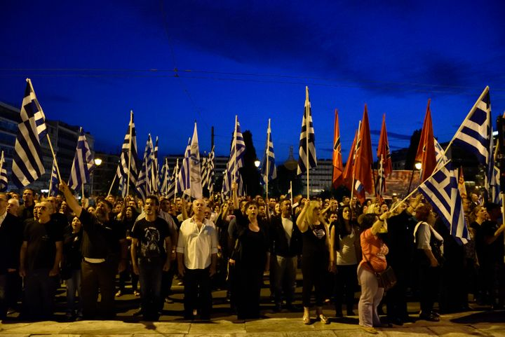 Golden Dawn supporters at an earlier rally in Athens on May 29.