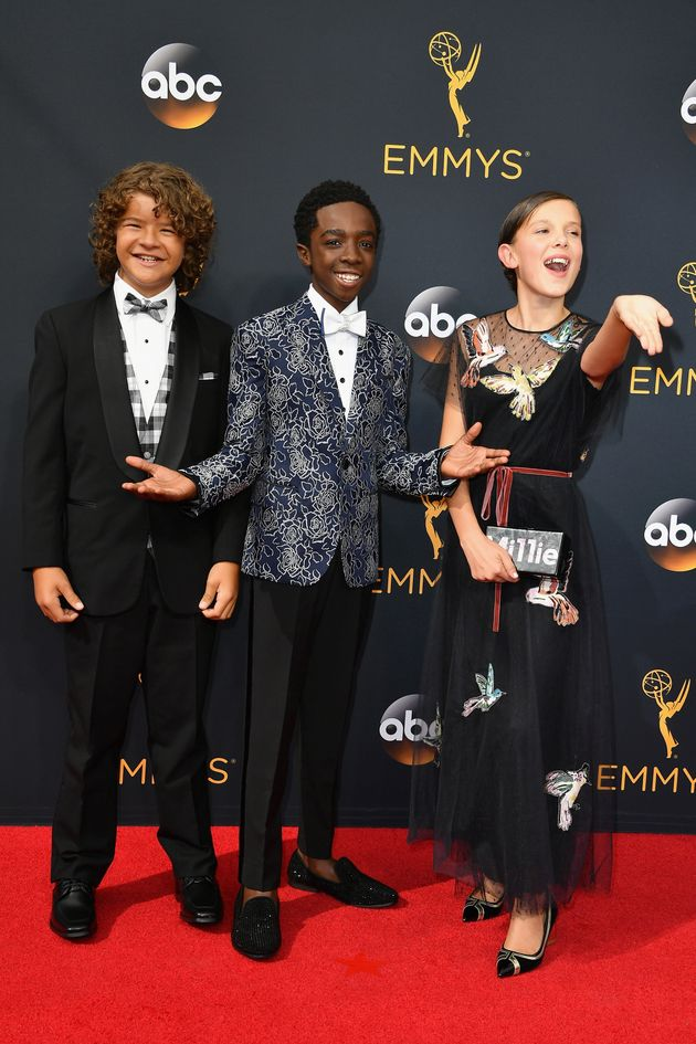 Gaten Matarazzo, Caleb McLaughlin and Millie Bobby Brown (left to right) attend the 68th Annual Primetime...