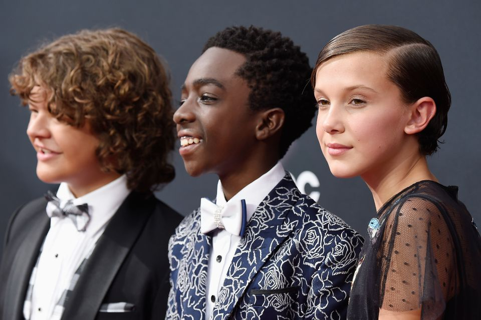 LOS ANGELES, CA - SEPTEMBER 18:  (L-R) Actors Gaten Matarazzo, Caleb McLaughlin and Millie Bobby Brown attend the 68th Annual