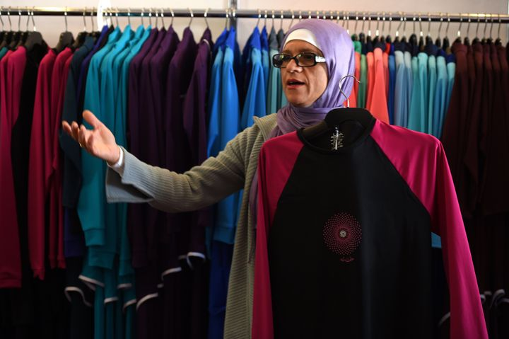 Burkini inventor Aheda Zanetti with her creations in western Sydney on Aug. 19, 2016.
