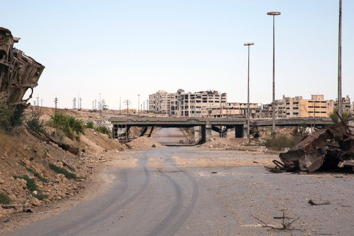 A view of the rubble-strewn road that's the main route for humanitarian aid to Aleppo.