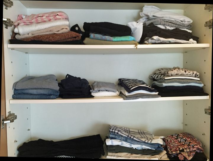 My shelves, which still include more clothes than I need.