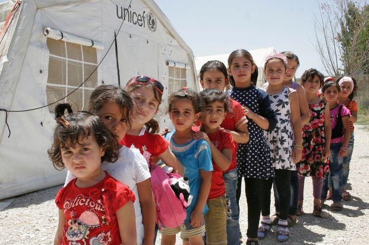 Syrian refugee children in Saadnayel, Lebanon, on July 16.