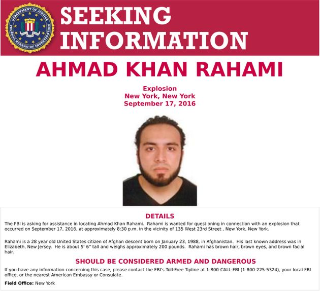 An image of Ahmad Khan Rahami, who is wanted for questioning in connection with an explosion in New York...