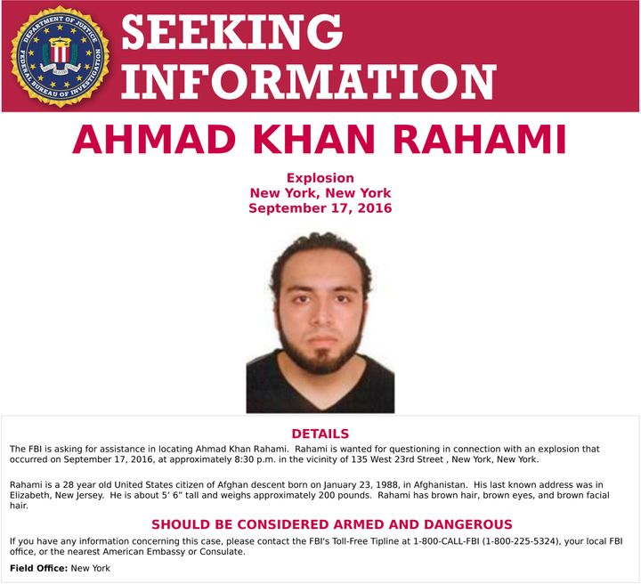 An image of Ahmad Khan Rahami, who is wanted for questioning in connection with an explosion in New York City, is seen in a a