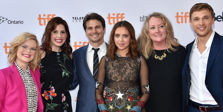 Kara Holden with actors Vanessa Bayer, Jason Ritter, Bel Powley, filmmaker Susan Johnson and actor William Moseley.